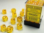 Zestaw (brick) 36 kostek k6 12 mm KRYSZTAŁ - żółty (yellow/white) [CHX23802]