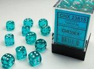 Zestaw (brick) 36 kostek k6 12 mm KRYSZTAŁ - teal/morski [CHX23815]