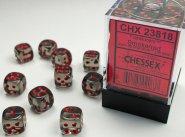 Zestaw (brick) 36 kostek k6 12 mm KRYSZTAŁ - dymny (smoke/red) [CHX23818]