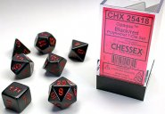 Kostki w kompletach (brick): MAT - Black w/red (7) (ostatni 1 egz.) [CHX25418]
