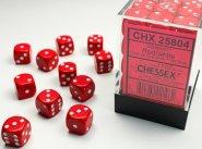 Zestaw (brick) 36 kostek k6 12 mm MAT - Red w/white [CHX25804]