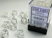 Zestaw (brick) 36 kostek k6 12 mm KRYSZTAŁ - przezroczysty (clear/white) [CHX23801]