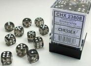 Zestaw (brick) 36 kostek k6 12 mm KRYSZTAŁ - dymny (smoke/white) [CHX23808]