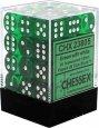 Zestaw (brick) 36 kostek k6 12 mm KRYSZTAŁ - zielony (green/white) [CHX23805]
