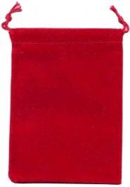 Woreczek na kostki welurowy z troczkami RED [CHX02374]
